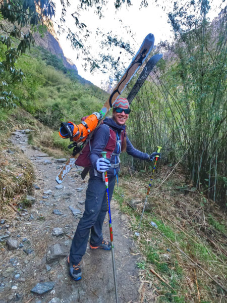 Trekking up from Dovan to Deurali en route to ski tour from Machhapuchhre Base Camp, March 2020