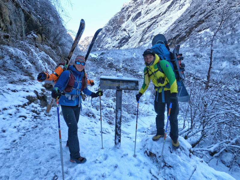All smiles through the avalanche zone towards Machhapuchhre Base Camp with Manish